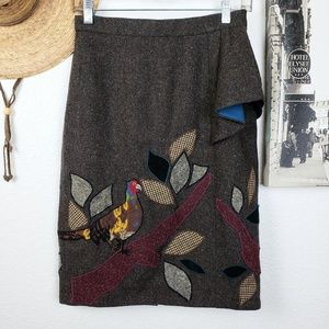 Anthro Floreat In the Trees Pheasant Wool Skirt